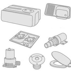 50 - Wasbakken, kookplaten, koelkasten, wc's